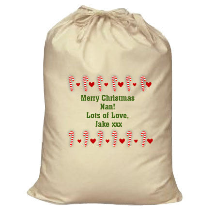 CM11 - Dancing Candy Canes Christmas Personalised Canvas Santa Sack