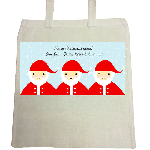 CM12 - Personalised Round Santa's Christmas Canvas Bag for Life