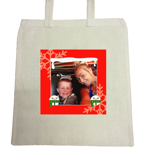 CM13 - Personalised Your Photo & Round Snowman Christmas Canvas Bag for Life