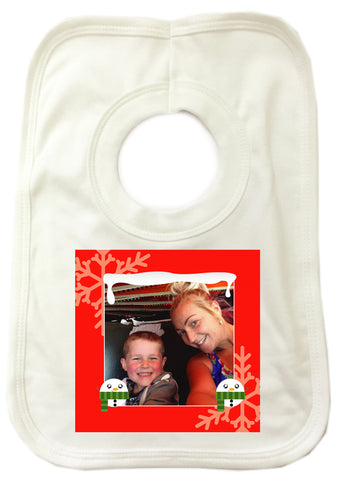 CM13 - Personalised Your Photo & Round Snowman Christmas Baby Bib