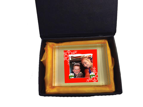 CM13 - Personalised Your Photo & Round Snowman Christmas Crystal Block with Presentation Gift Box