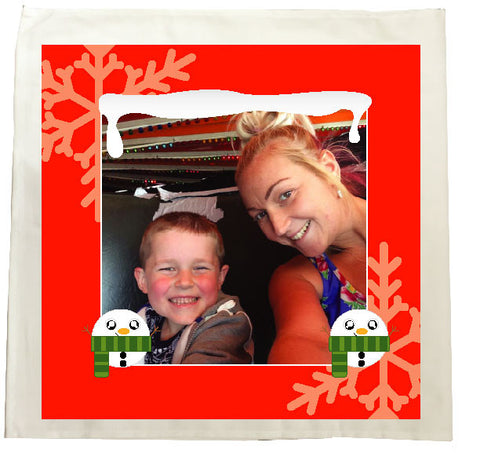 CM13 - Personalised Your Photo & Round Snowman Christmas Tea Towel