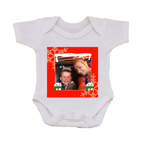 CM13 - Personalised Your Photo & Round Snowman Christmas Baby Vest