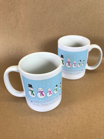 CM14 - Personalised Family of Snowmen Christmas Mug & White Gift Box