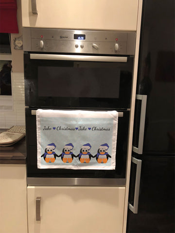 CM15 - Personalised Family of Penguins Christmas Tea Towel