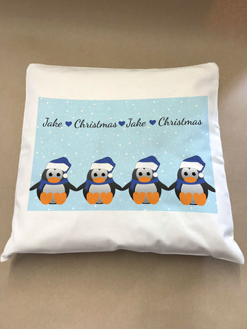 CM15 - Personalised Family of Penguins Christmas Cushion Cover