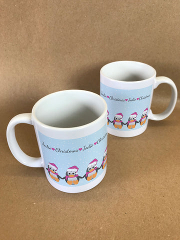 CM15 - Personalised Family of Penguins Christmas Mug & White Gift Box