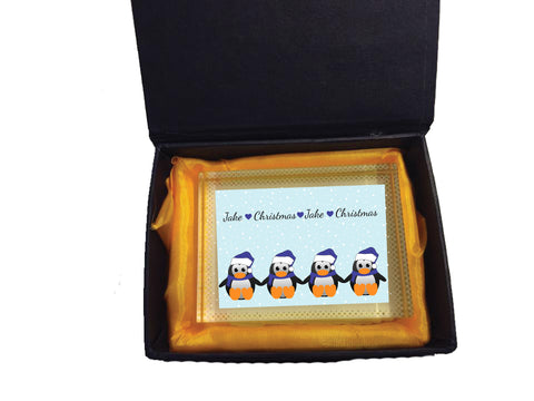 CM15 - Personalised Family of Penguins Christmas Crystal Block with Presentation Gift Box