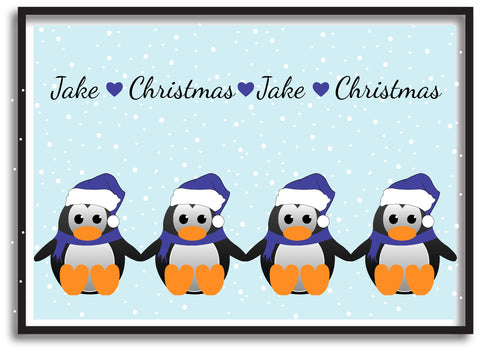 CM15 - Personalised Family of Penguins Christmas Print