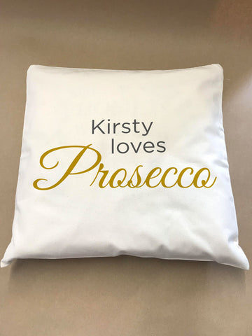 CM17 - Loves Prosecco Personalised Canvas Cushion Cover