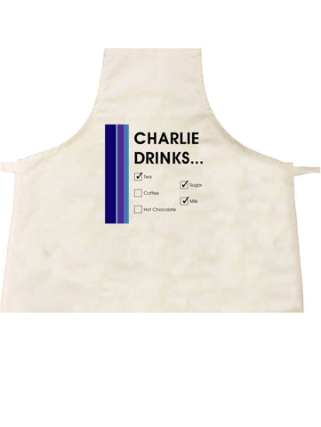 CM19 - Names Drinks then choose their choices Personalised Apron