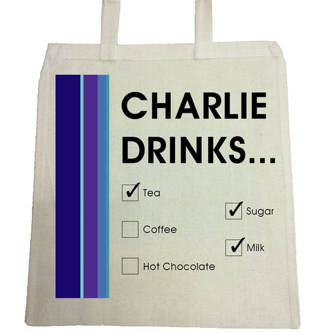 CM19 - Names Drinks then choose their choices Personalised Canvas Bag for Life
