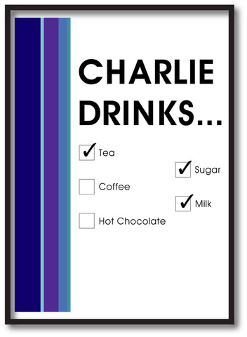 CM19 - Names Drinks then choose their choices Personalised Print
