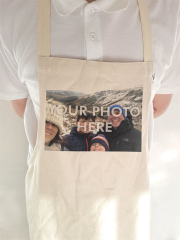Personalised Your Photo and Your Message on High-Quality Canvas Apron for Adult & Child.