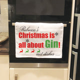 CT03 - Personalised Christmas Is All About Tea Towel