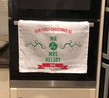 CT04 - Personalised First Christmas As Mr & Mrs Tea Towel