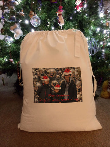 CT06 - Personalised Your Photo With Christmas Hats On Canvas Santa Sack