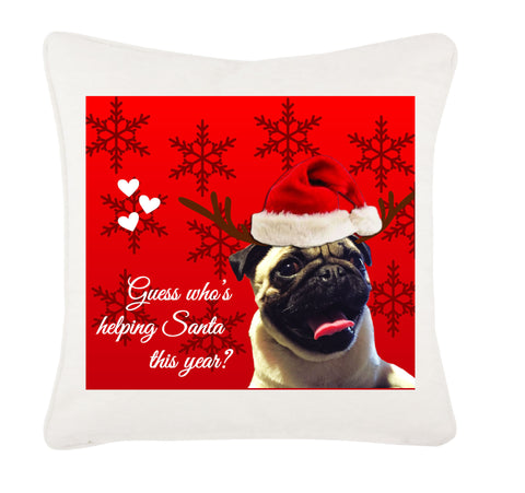 Personalised Guess Who's Helping Santa Canvas Christmas Cushion Cover