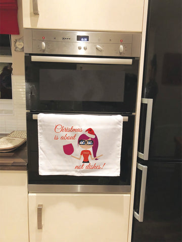 CT09 - Christmas is about (name) not Dishes Bella Canvas Tea Towel