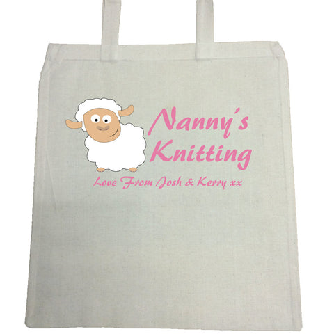 CB09 - Personalised Nanny's Knittng Canvas Bag for Life