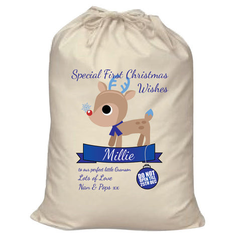 SS10 - Special First Christmas Wishes Cute Reindeer Personalised Santa Sack for Boys and Girls