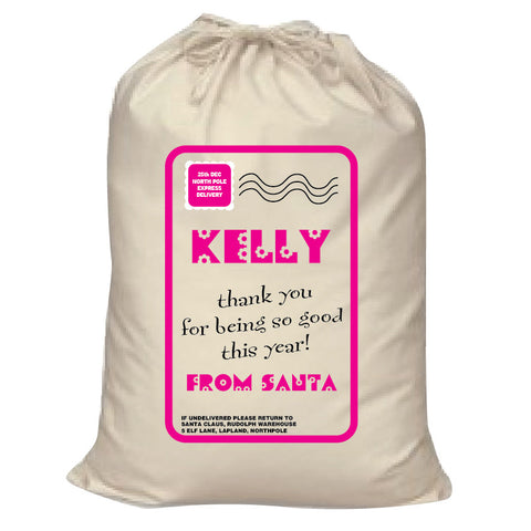SS13 - Name Thank You for Being Good Personalised Christmas Girls Santa Sack