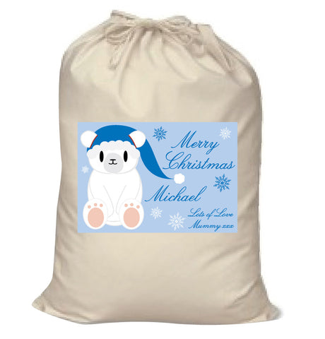 SS07 - Cute Blue Polar Bear Personalised Christmas Santa Sack