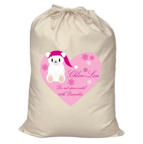 SS05 - Cute Polar Bear Girls Heart Canvas Personalised Christmas Santa Sack