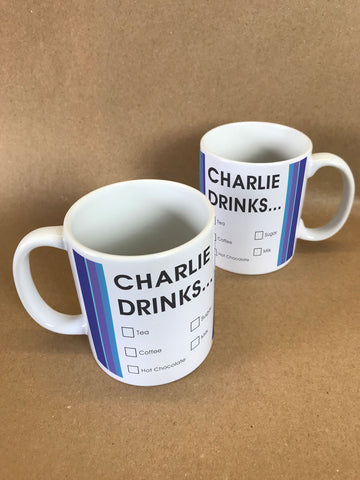 CM19 - Names Drinks then choose their choices Personalised Mug & White Gift Box