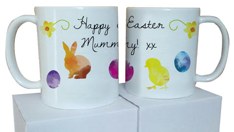 EA09 - Personalised Aztec Easter Bunny and Chick Mug & White Box
