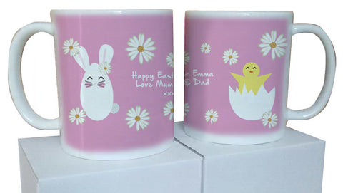 EA08 - Personalised Happy Easter (Name) Bunny and Chick Mug & White Box