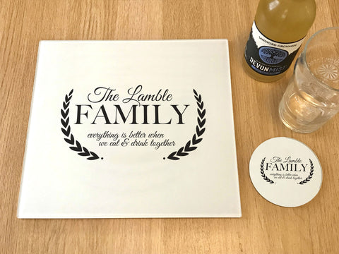 "GCB001 - Personalised Name ""Everything's Better"" Glass Placemats and Coasters"