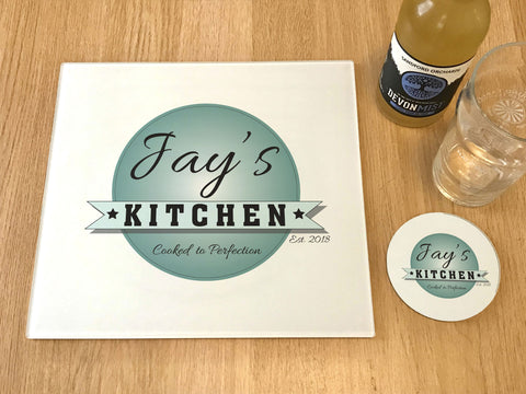 "GCB003 - Personalised Name ""Jay's Kitchen"" Glass Placemats and Coasters"
