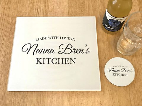 "GCB004 - Personalised Name ""Made With Love"" Glass Placemats and Coasters"