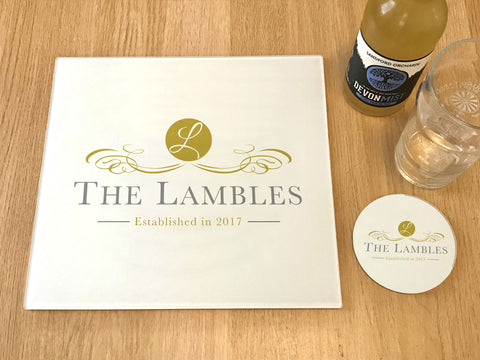 "GCB005 - Personalised Name ""The Lambles"" Glass Placemats and Coasters"