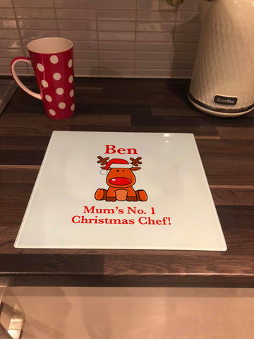 Personalised Christmas Glass Placemat or Chopping Board