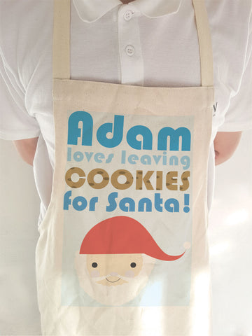 CA07 - Personalised Christmas (Name) Loves Cooking/Leaving Cookies For Santa Cooking Apron
