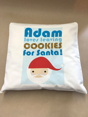 Personalised Christmas (Name) Loves Cooking/Leaving Cookies For Santa Cushion Cover