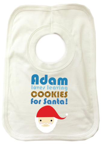 CA07 - Personalised Christmas (Name) Loves Cooking/Leaving Cookies For Santa Cooking Baby Bib