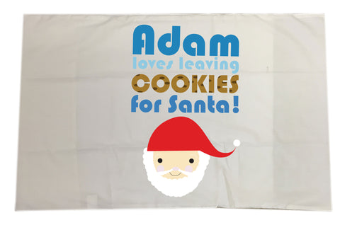 CA07 - Personalised Christmas (Name) Loves Cooking/Leaving Cookies For Santa White Pillow Case