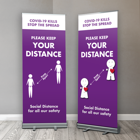 Covid 19 Social Distancing for all our Safety Retractable Banner