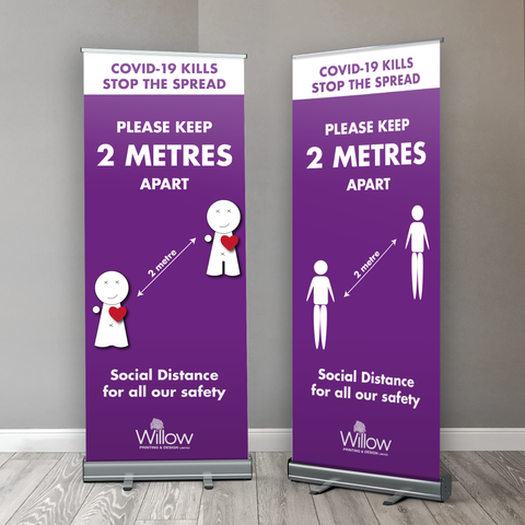 Covid 19 2 Metre Social Distancing for all our Safety Retractable Banner