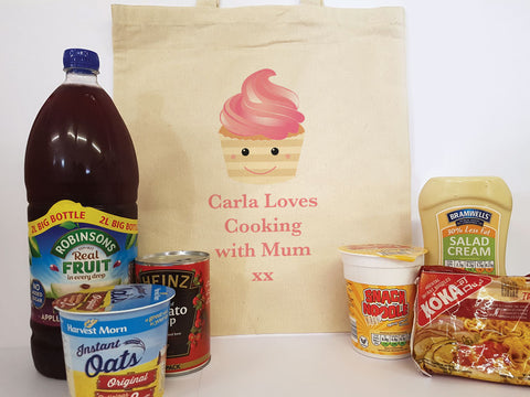 CA08 - Personalised (Name) Loves Cooking with Mum/Nan xx Canvas Bag for Life