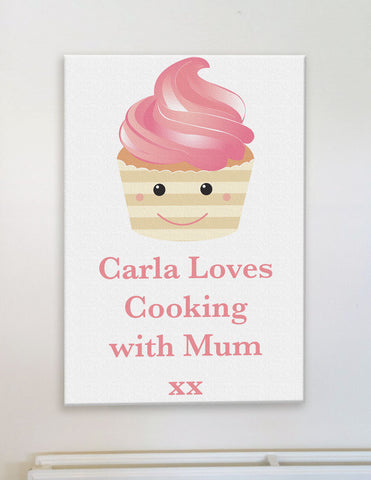 CA08 - Personalised (Name) Loves Cooking with Mum/Nan xx Canvas Print