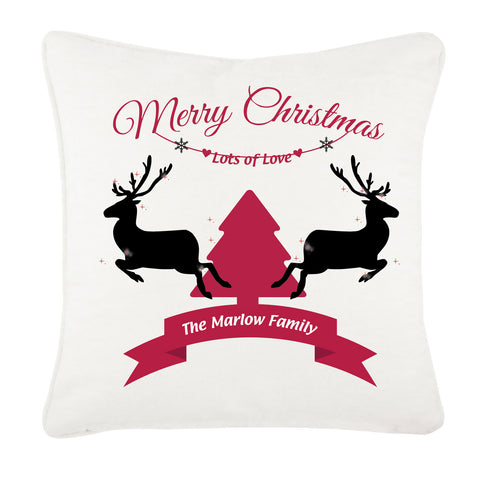 Personalised Christmas Reindeers & Tree With Your Family Name Inserted In Ribbon Cushion