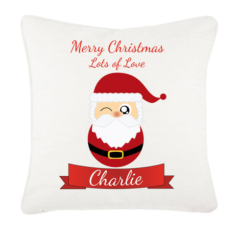 CC08 - Personalised Christmas Cute Santa with Name inserted Canvas Cushion Cover