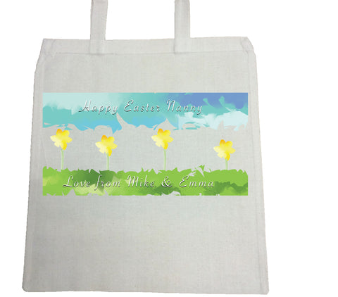 EA10 -  Personalised Aztec Easter Daffodil Canvas Bag