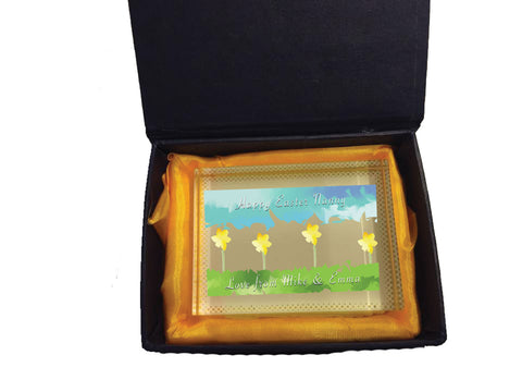 EA10 - Personalised Aztec Easter Daffodil Crystal Block with Presentation Gift Box