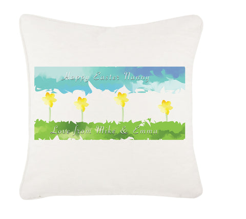EA10 - Personalised Aztec Easter Daffodil Cushion