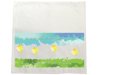 EA10 - Personalised Aztec Easter Daffodil Canvas Tea Towel